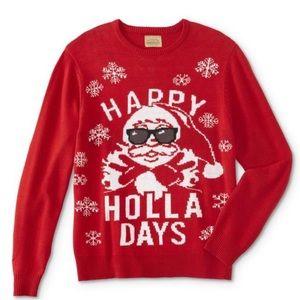 Roebuck & Co Happy Holla Days Santa Knit Sweater